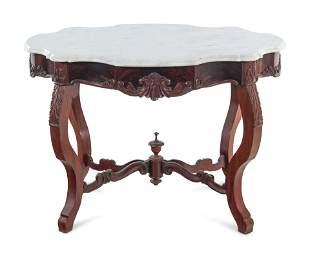 A Victorian Mahogany Marble-Top Table