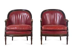 A Pair of Edwardian Style Carved Mahogany Barrel-Back