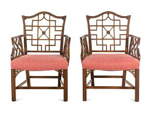 A Pair of Chinese Chippendale Style Armchairs