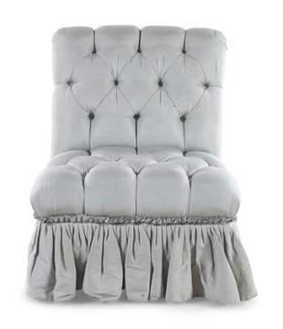 A Button Tufted Slipper Chair