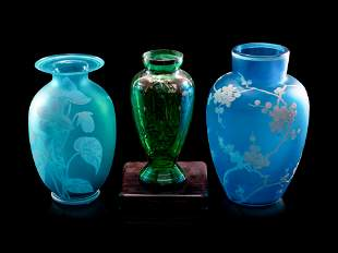 Two Simulated Cameo Glass Vases and a Silver Overlay