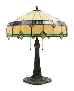 An American Leaded Glass Table Lamp