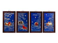 A Set of Four Chinese Export Porcelain Plaques in