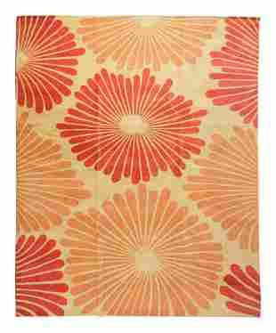 "A Contemporary ""Sunburst"" Design Wool Rug"