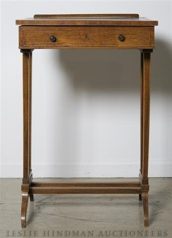 1: An English Satinwood Writing Stand, Height 29 x widt