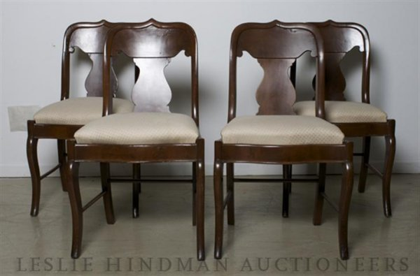 6: A Set of Four Victorian Walnut Side Chairs, Height 3