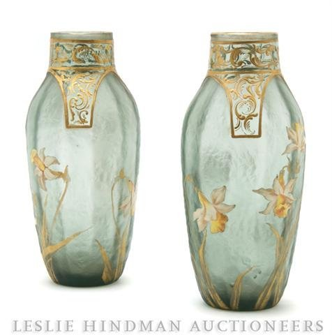244: A Pair of Glass Enamel Vases, Height 8 inches.