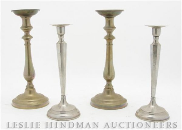 635: A Pair of Silverplate Candlesticks,