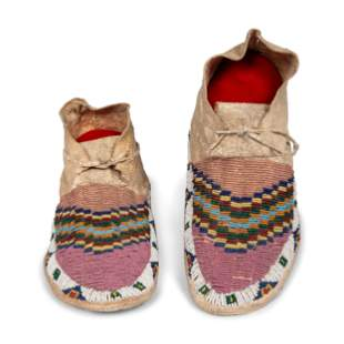 Sioux Beaded Hide Moccasins length 10 inches