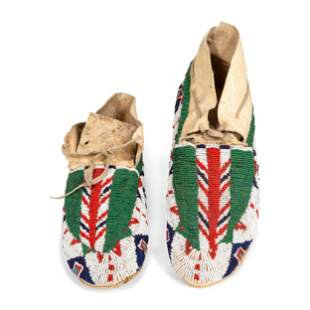 Sioux Beaded Hide Moccasins length 10 3/4 inches