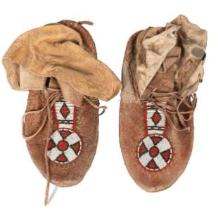 Northern Plains Beaded Hide Moccasins length 10