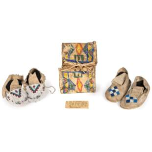 Northern Plains Child's Beaded Hide Moccasins and