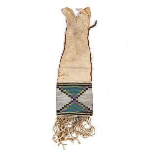 Blackfeet Beaded Hide Tobacco Bag overall length 20