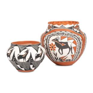 Acoma Pottery Jars, with Deer and Bighorn Heartline
