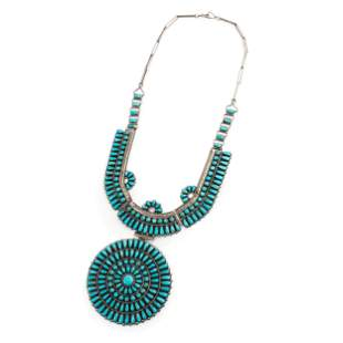 Navajo or Zuni Silver and Petit Point Turquoise
