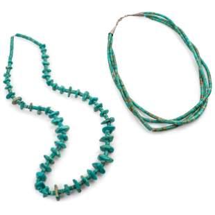 Pair of Pueblo Turquoise Necklaces