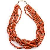 Pueblo Six-Strand Coral Necklace
