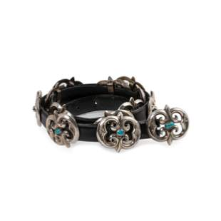 Navajo Sand Cast Silver and Turquoise Concha Belt