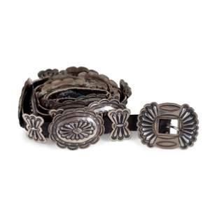 Navajo Stamped Silver Concha Belt
