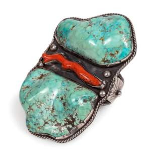 Large Navajo Silver Cuff Bracelet, with Turquoise