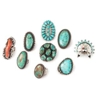 Group of Navajo and Zuni Silver Rings, with Inlay