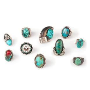 Navajo and Zuni Silver Rings, with Inlay