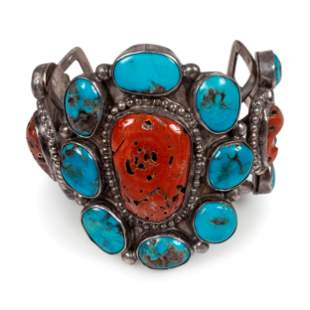 Navajo Silver Cuff Bracelet, with Turquoise and Coral