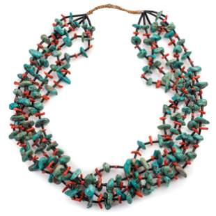 Pueblo Five-Strand Necklace, with Traditional Cord