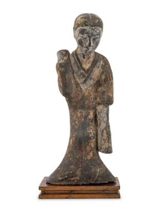 A Chinese Grey Pottery Figure of a Court Lady