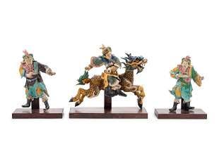 Three Chinese Painted Pottery Figures