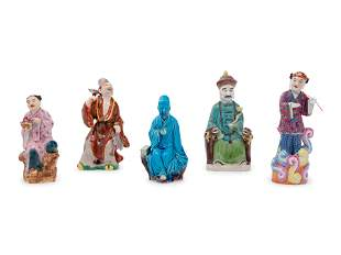 Five Chinese Porcelain Figures of Immortals