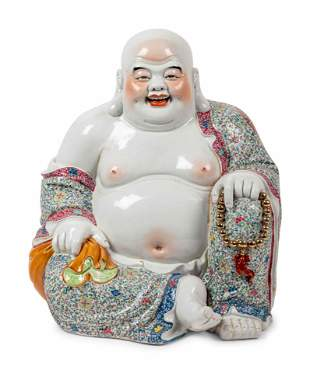A Large Chinese Famille Rose Porcelain Figure of