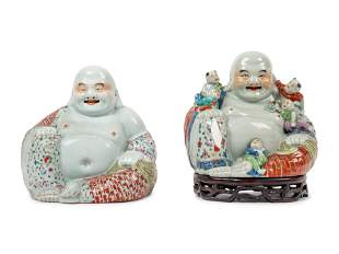 Two Chinese Famille Rose Porcelain Figures of Laughing