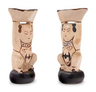 A Pair of Chinese Cizhou Style Porcelain Figural-Form