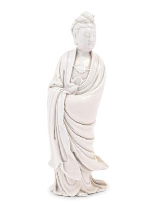 A Chinese Blanc-de-Chine Porcelain Figure of Guanyin