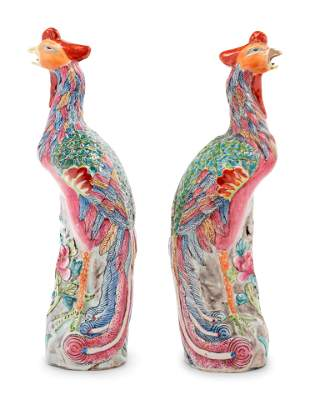 A Pair of Chinese Export Famille Rose Porcelain Figures