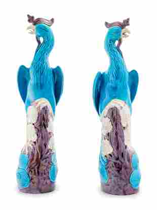 A Pair of Chinese Export Turquoise, White and Purple