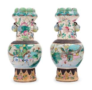 A Pair of Chinese Iron Decorated Famille Rose Porcelain