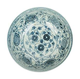 A Large Chinese Export Blue and White Porcelain Bowl