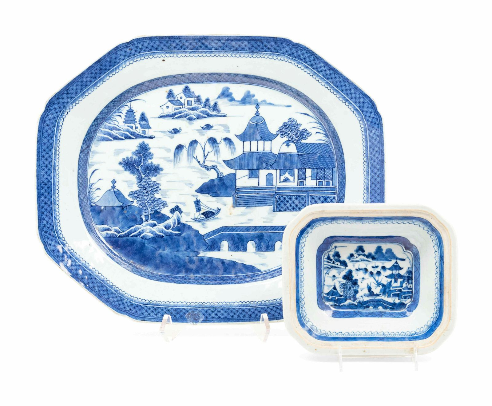 Two Chinese Export Canton Blue and White Porcelain