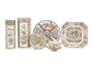 Six Chinese Export Rose Medallion Porcelain Articles