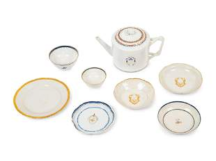 Eight Chinese Export Porcelain Tea Wares