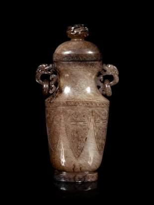 A Chinese Greyish Celadon Jade Covered Vase