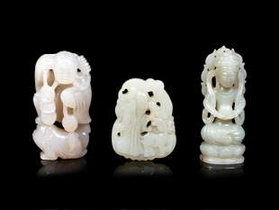 Three Chinese Celadon Jade Carved Figures of Immortals