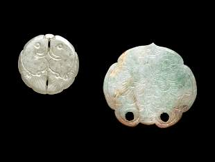 Two Chinese Jade and Jadeite Plaques
