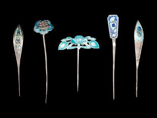 Five Chinese Enamel on Silver Hairpins