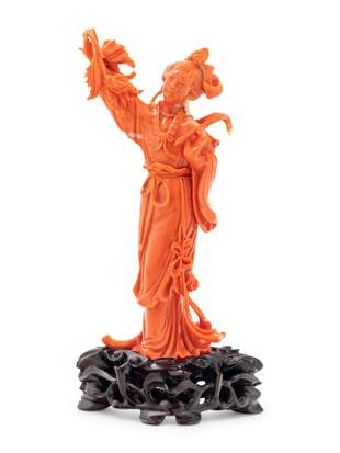 A Chinese Red Coral Figure of a Lady