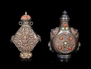 Two Mongolian or Tibetan Hardstone Inset Metal Snuff