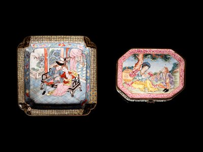 Two Chinese Canton Enamel on Copper Articles