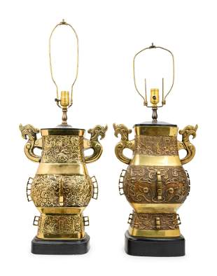 A Pair of Chinese Bronze Archaistic Bronze Hu Vases